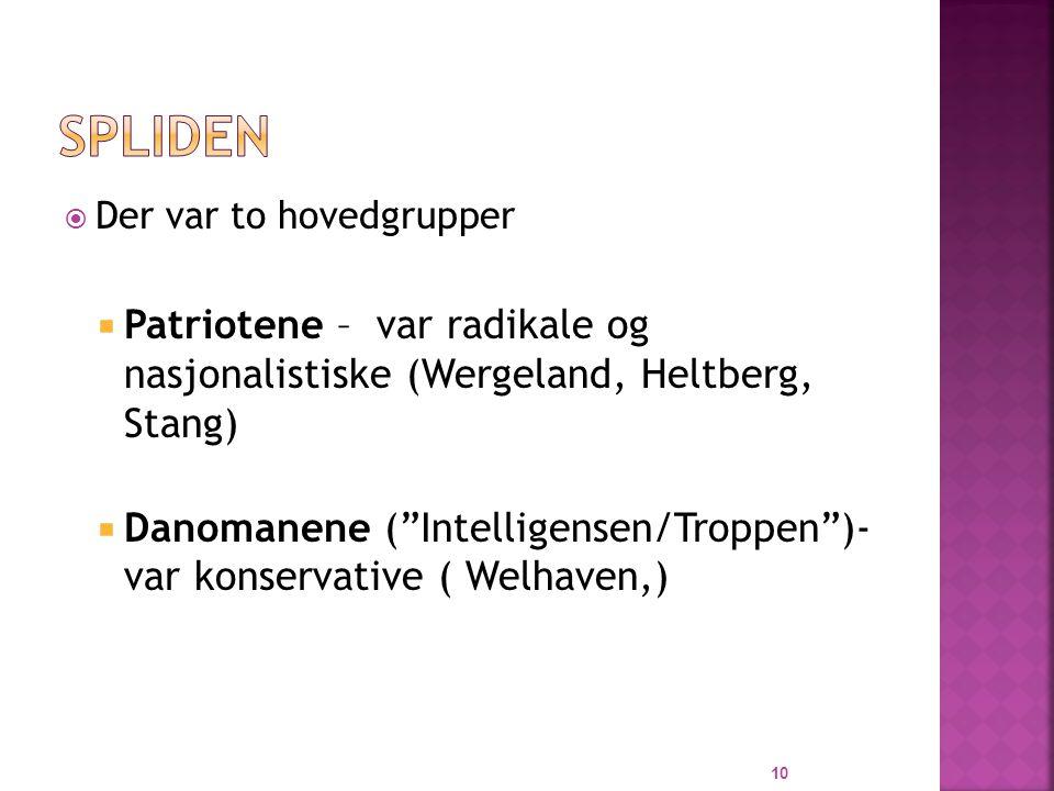 Spliden Der var to hovedgrupper. Patriotene – var radikale og nasjonalistiske (Wergeland, Heltberg, Stang)