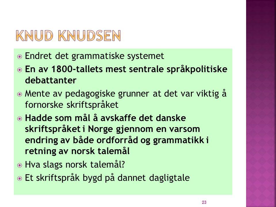 Knud Knudsen Endret det grammatiske systemet