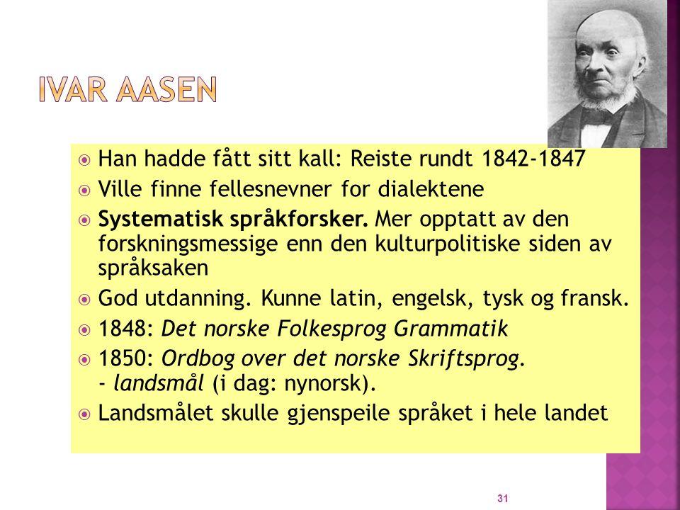Ivar Aasen Han hadde fått sitt kall: Reiste rundt 1842-1847