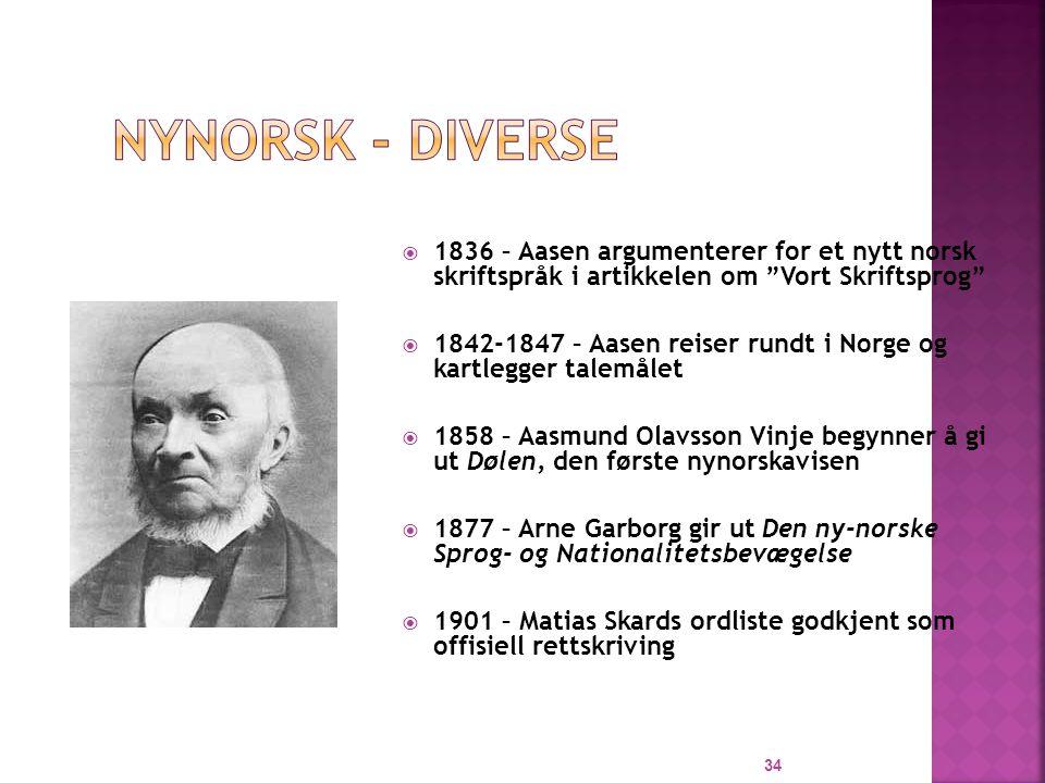 Nynorsk - diverse 1836 – Aasen argumenterer for et nytt norsk skriftspråk i artikkelen om Vort Skriftsprog