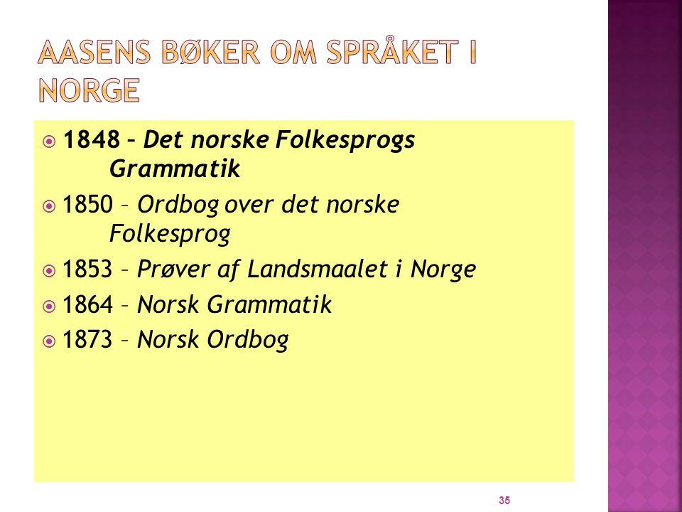Aasens bøker om språket i Norge