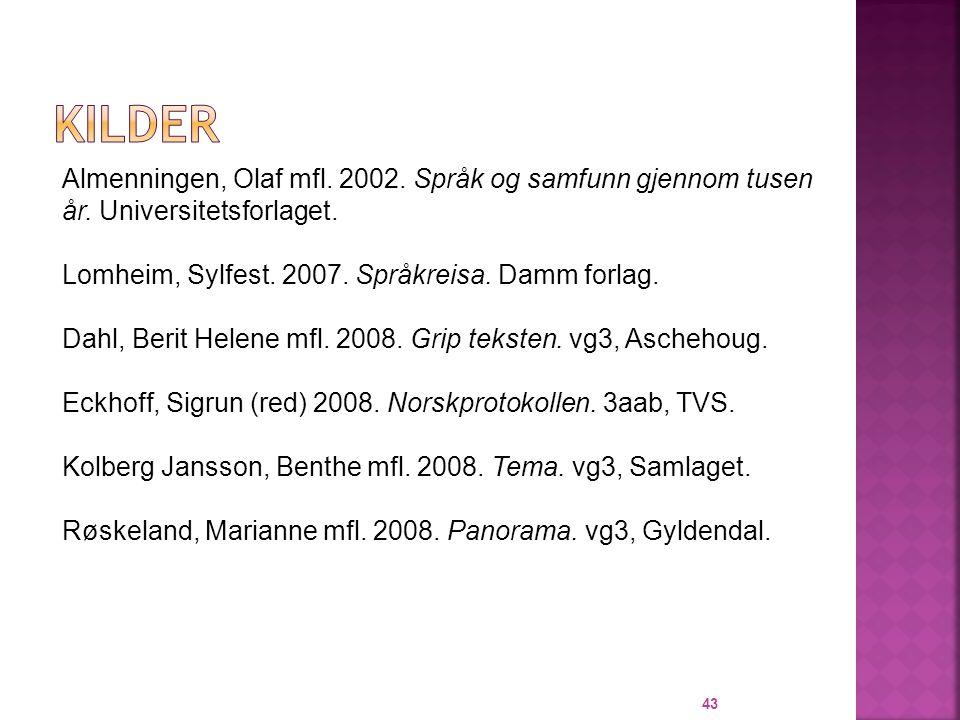 KILDER Almenningen, Olaf mfl. 2002. Språk og samfunn gjennom tusen år. Universitetsforlaget. Lomheim, Sylfest. 2007. Språkreisa. Damm forlag.