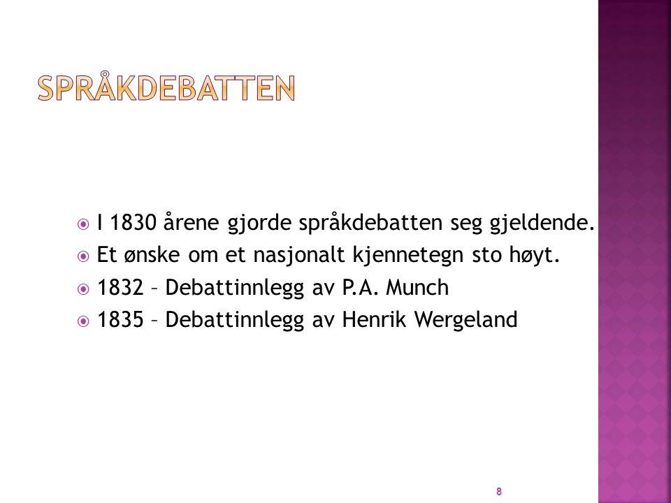 Språkdebatten I 1830 årene gjorde språkdebatten seg gjeldende.