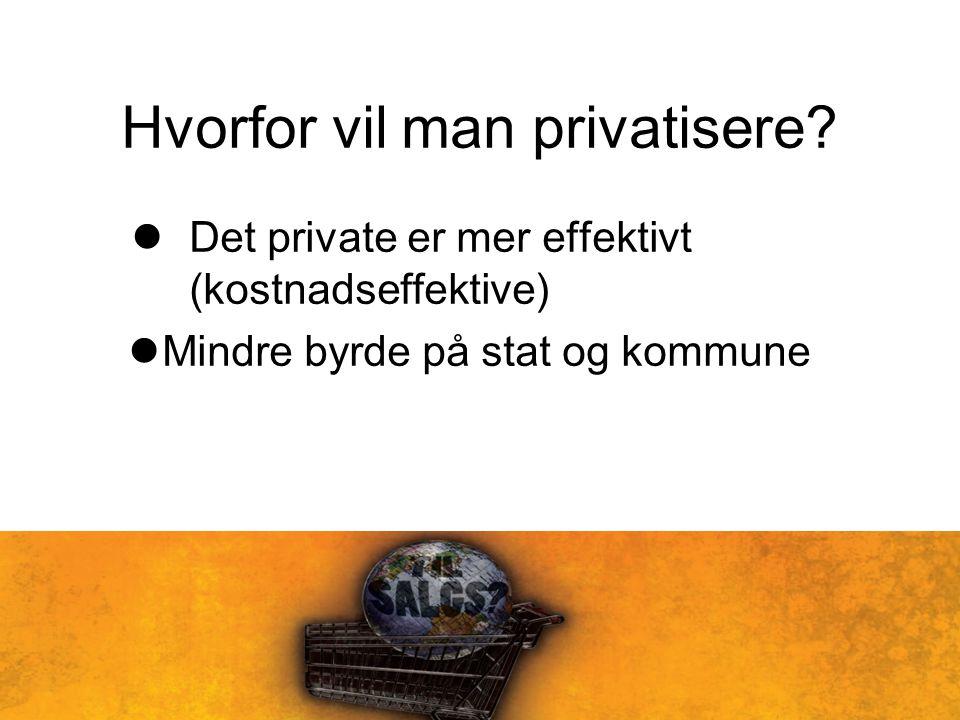 Hvorfor vil man privatisere