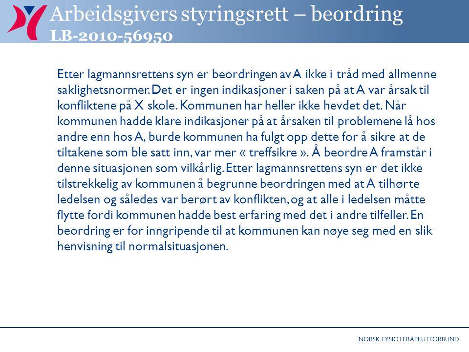 Arbeidsgivers styringsrett – beordring LB-2010-56950