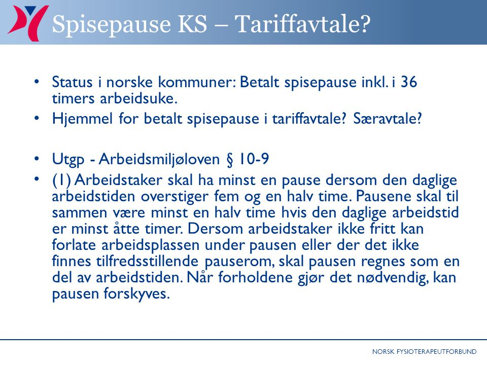 Spisepause KS – Tariffavtale