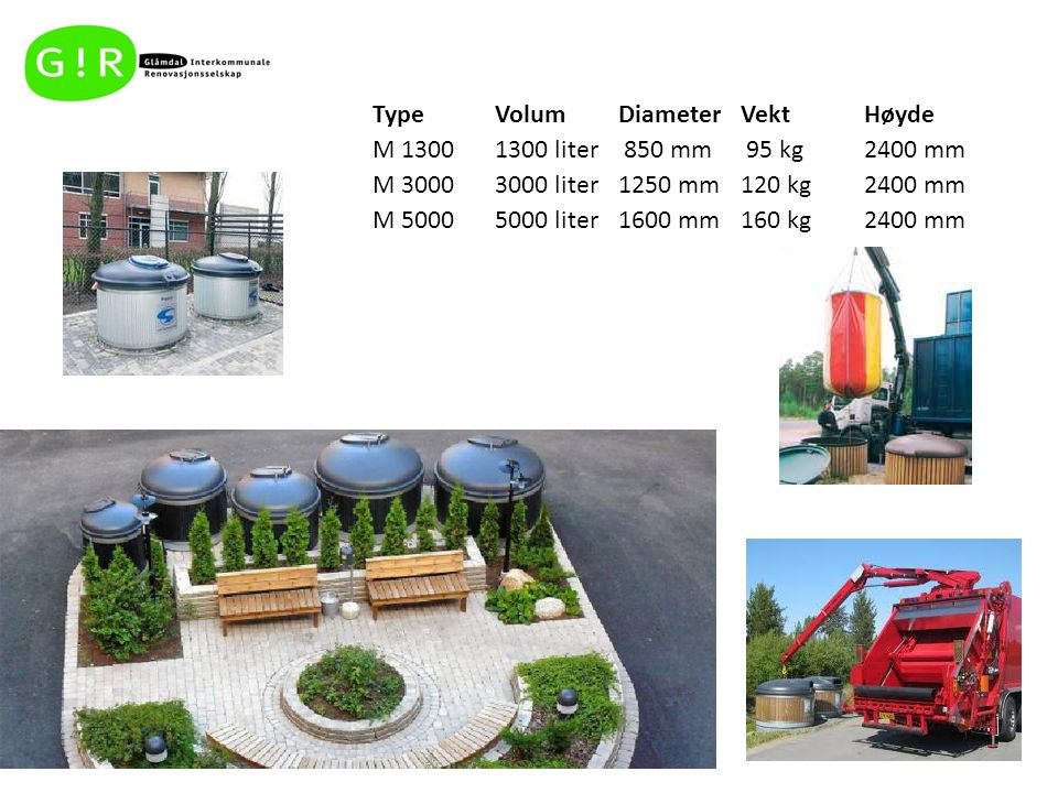 Type Volum. Diameter. Vekt. Høyde. M 1300. 1300 liter. 850 mm. 95 kg. 2400 mm. M 3000. 3000 liter.