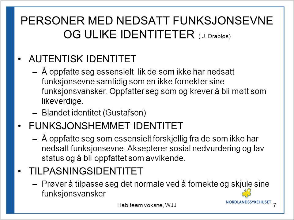 PERSONER MED NEDSATT FUNKSJONSEVNE OG ULIKE IDENTITETER ( J. Drabløs)