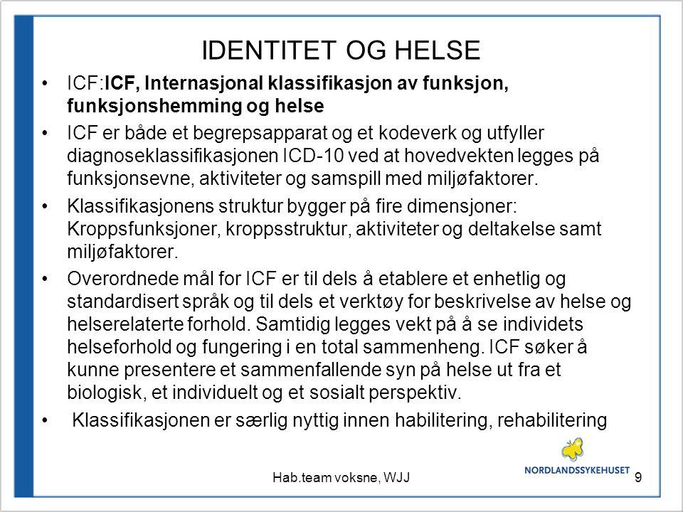 IDENTITET OG HELSE ICF:ICF, Internasjonal klassifikasjon av funksjon, funksjonshemming og helse.