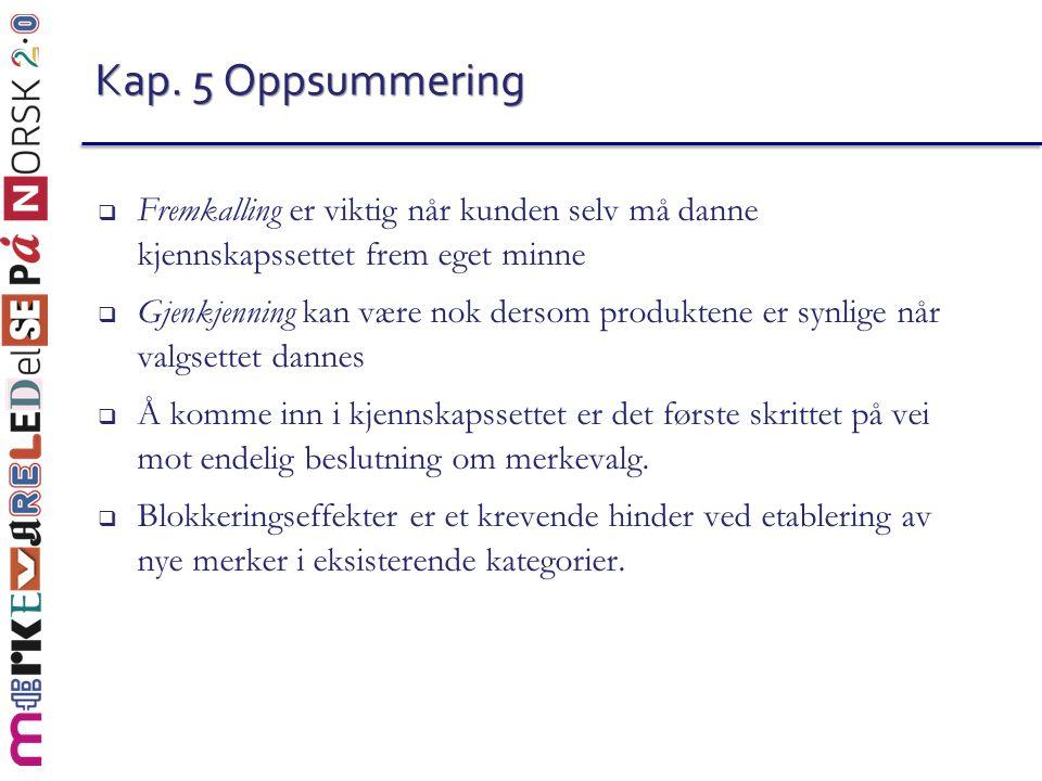 Kap. 5 Oppsummering Fremkalling er viktig når kunden selv må danne kjennskapssettet frem eget minne.