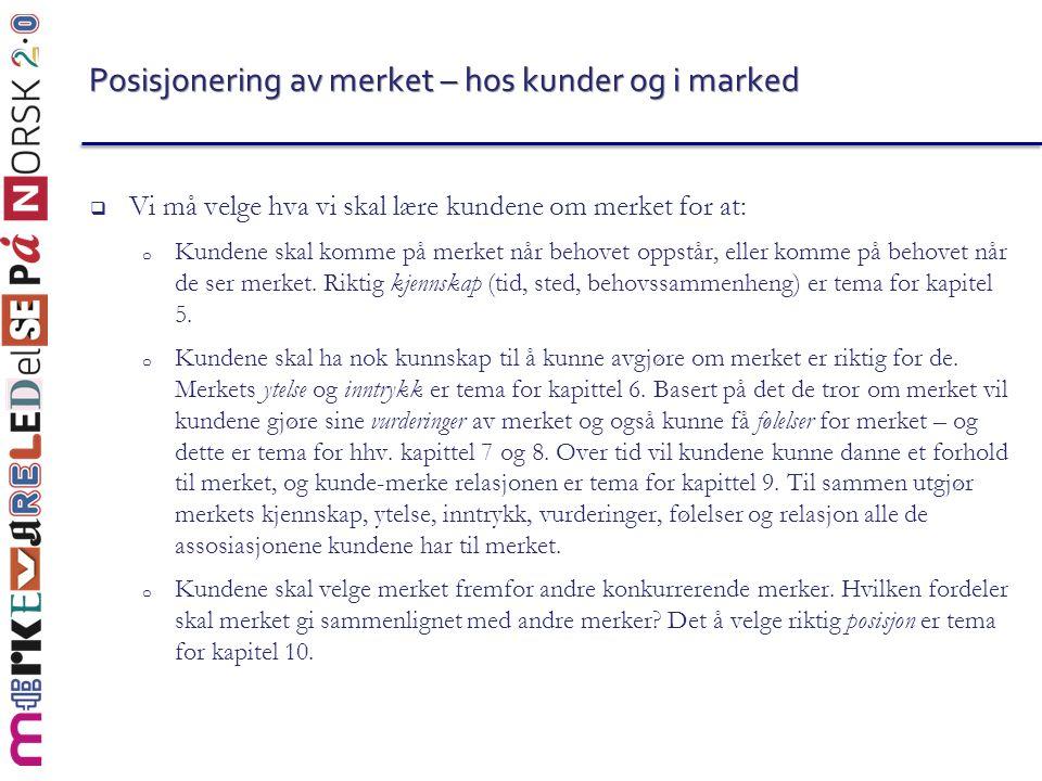 Posisjonering av merket – hos kunder og i marked