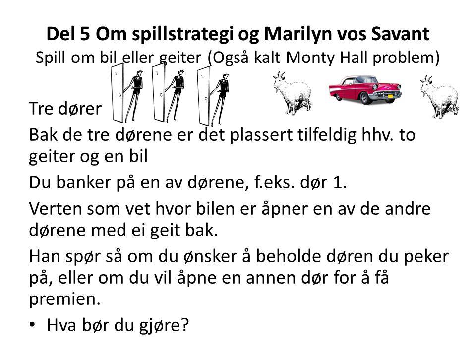 Del 5 Om spillstrategi og Marilyn vos Savant Spill om bil eller geiter (Også kalt Monty Hall problem)