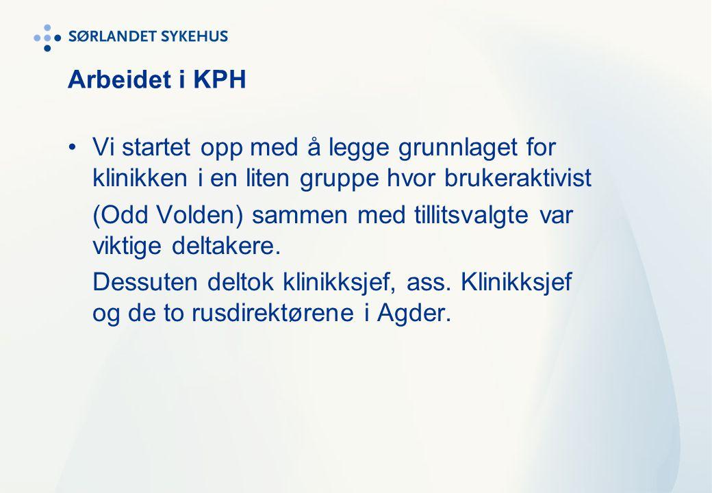 Arbeidet i KPH Vi startet opp med å legge grunnlaget for klinikken i en liten gruppe hvor brukeraktivist.