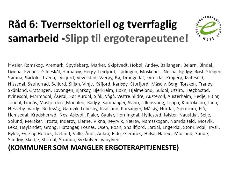 Råd 6: Tverrsektoriell og tverrfaglig samarbeid -Slipp til ergoterapeutene!
