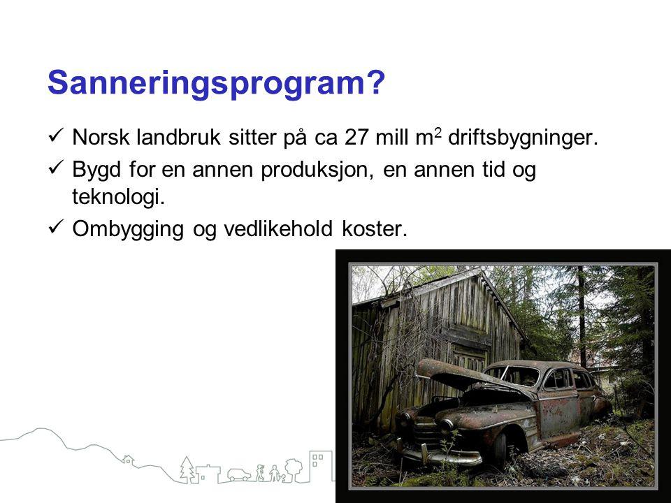 Sanneringsprogram Norsk landbruk sitter på ca 27 mill m2 driftsbygninger. Bygd for en annen produksjon, en annen tid og teknologi.