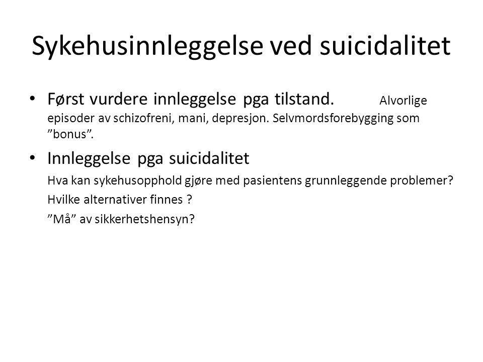 Sykehusinnleggelse ved suicidalitet