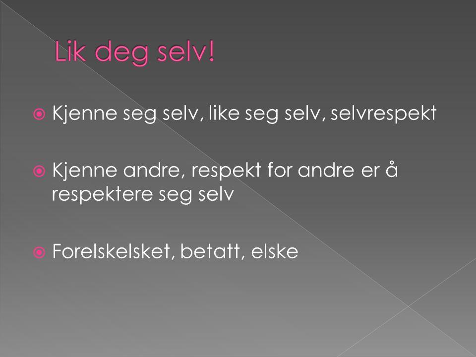 Lik deg selv! Kjenne seg selv, like seg selv, selvrespekt
