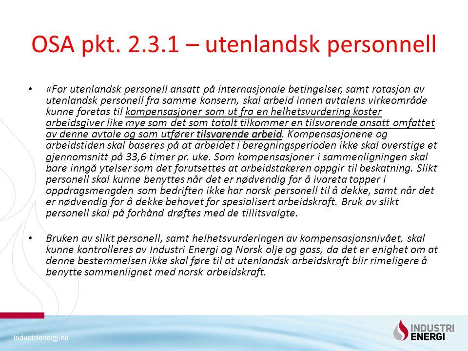 OSA pkt. 2.3.1 – utenlandsk personnell
