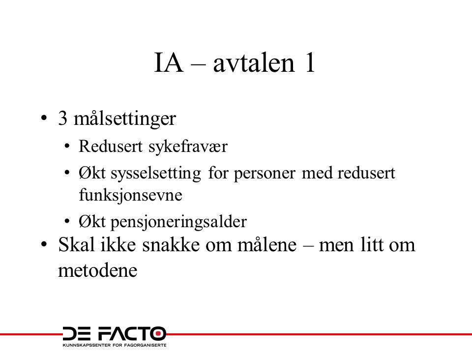 IA – avtalen 1 3 målsettinger