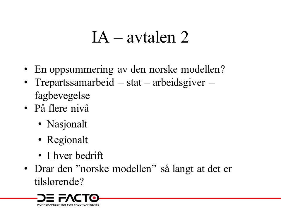 IA – avtalen 2 En oppsummering av den norske modellen