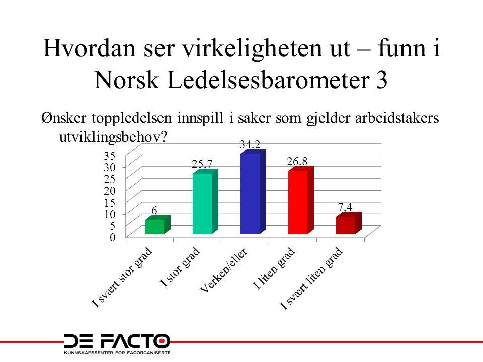 Hvordan ser virkeligheten ut – funn i Norsk Ledelsesbarometer 3