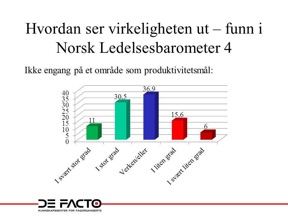 Hvordan ser virkeligheten ut – funn i Norsk Ledelsesbarometer 4