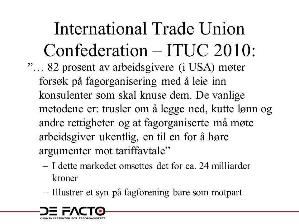 International Trade Union Confederation – ITUC 2010: