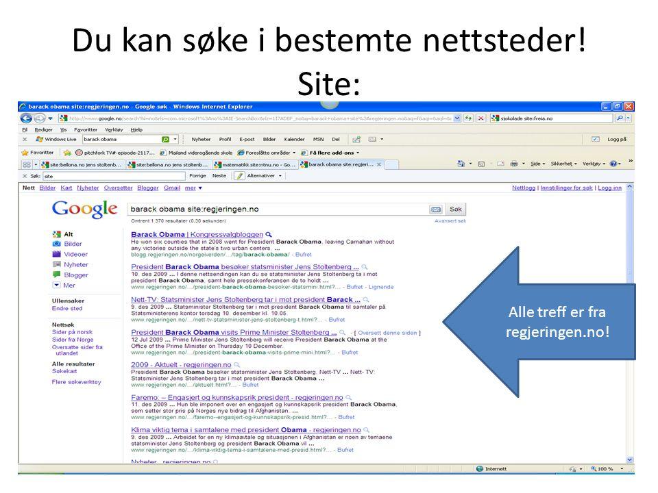 Du kan søke i bestemte nettsteder! Site:
