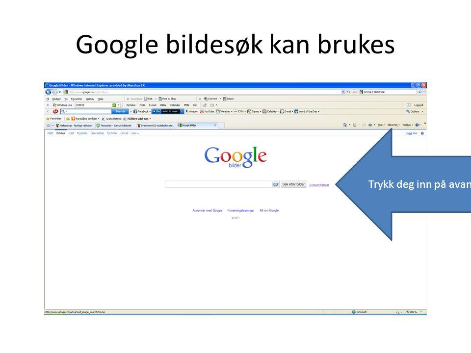 Google bildesøk kan brukes