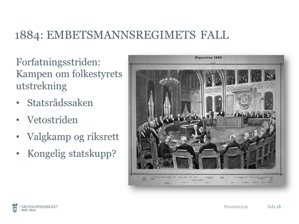 1884: embetsmannsregimets fall