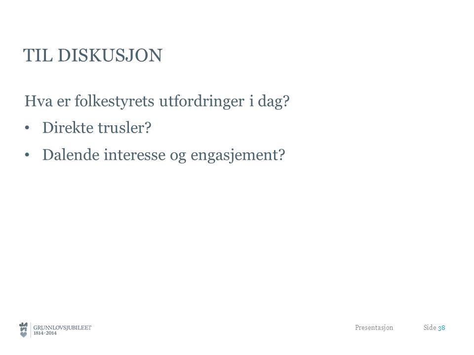 Til diskusjon Hva er folkestyrets utfordringer i dag Direkte trusler