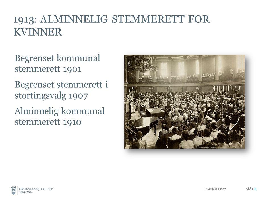 1913: alminnelig stemmerett for kvinner