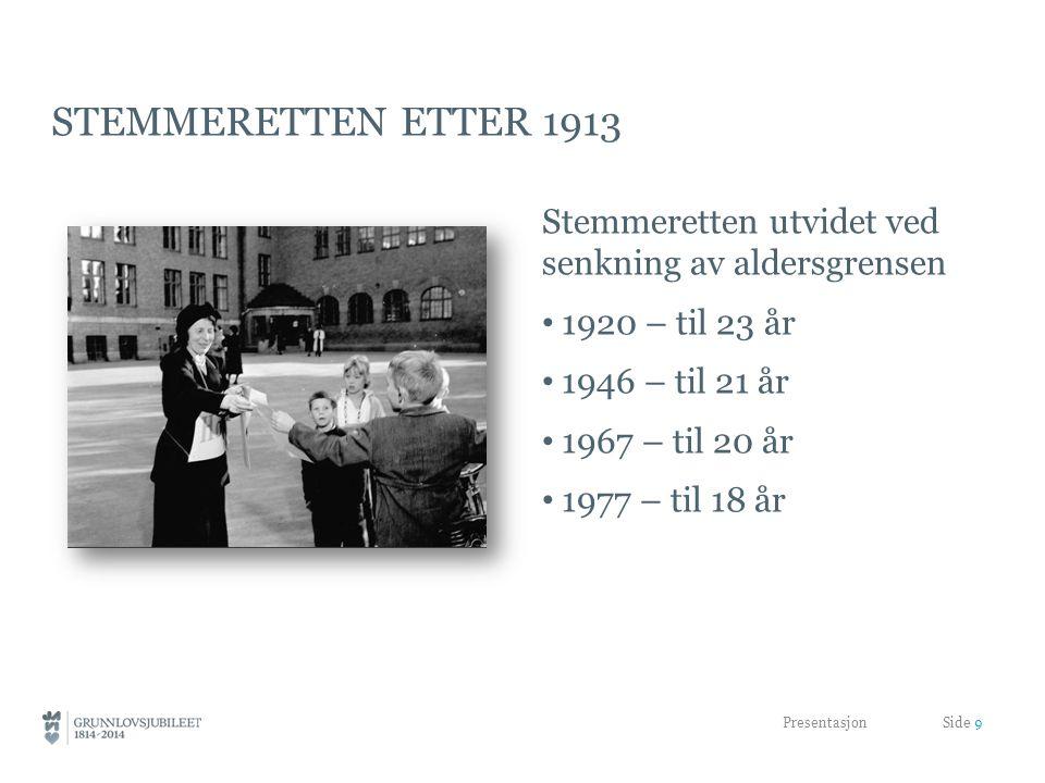 stemmeretten etter 1913 Stemmeretten utvidet ved senkning av aldersgrensen. 1920 – til 23 år. 1946 – til 21 år.