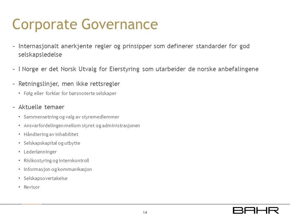 Corporate Governance Internasjonalt anerkjente regler og prinsipper som definerer standarder for god selskapsledelse.