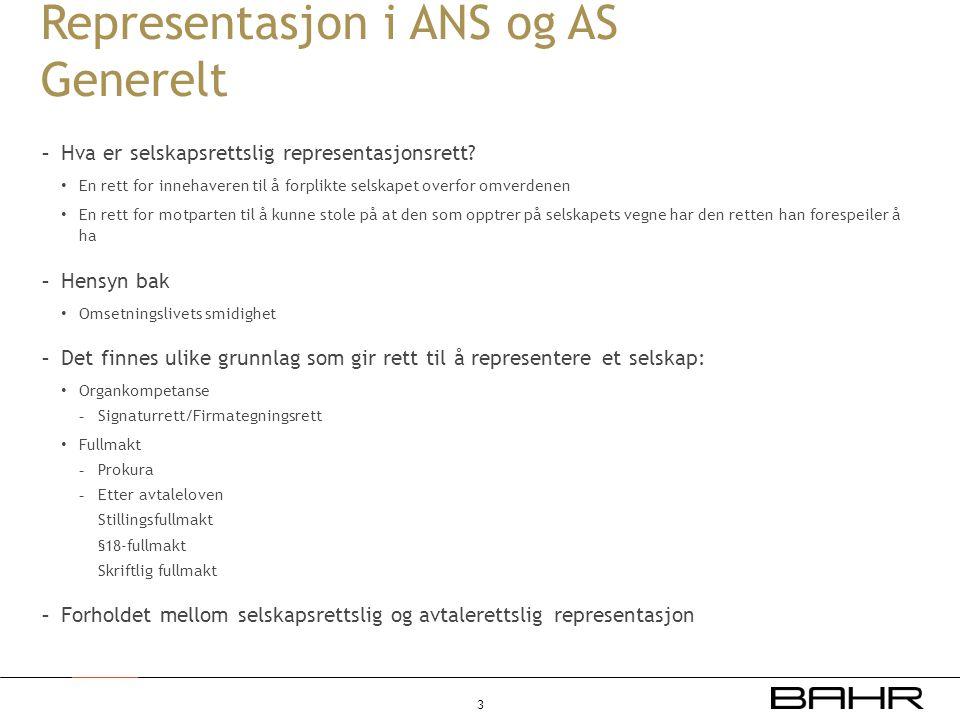 Representasjon i ANS og AS Generelt