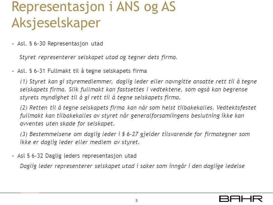 Representasjon i ANS og AS Aksjeselskaper
