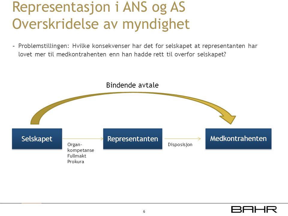 Representasjon i ANS og AS Overskridelse av myndighet