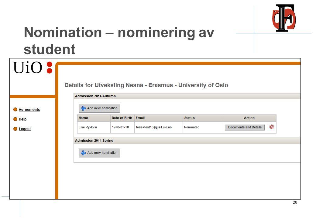 Nomination – oversikt over tilgjengelige avtaler