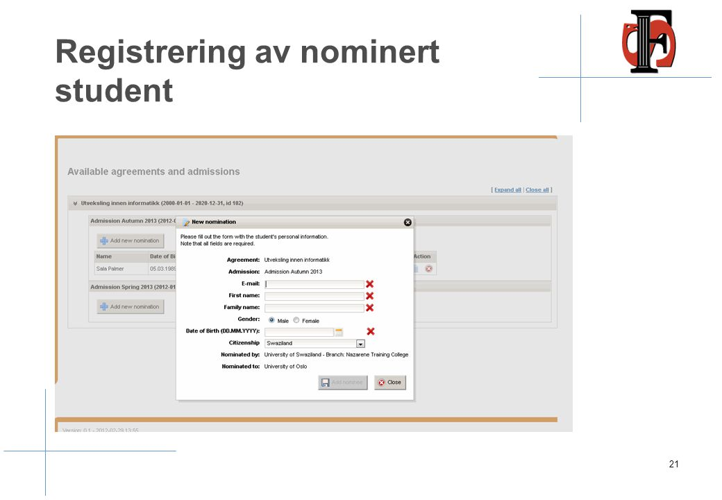 Nomination – nominering av student