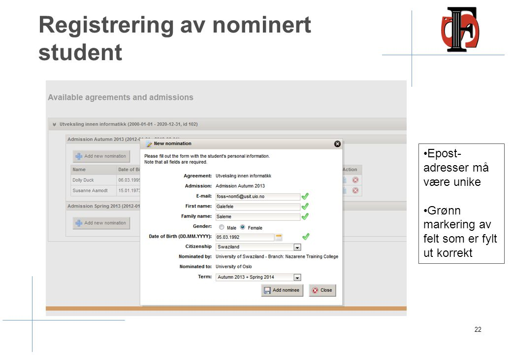 Registrering av nominert student