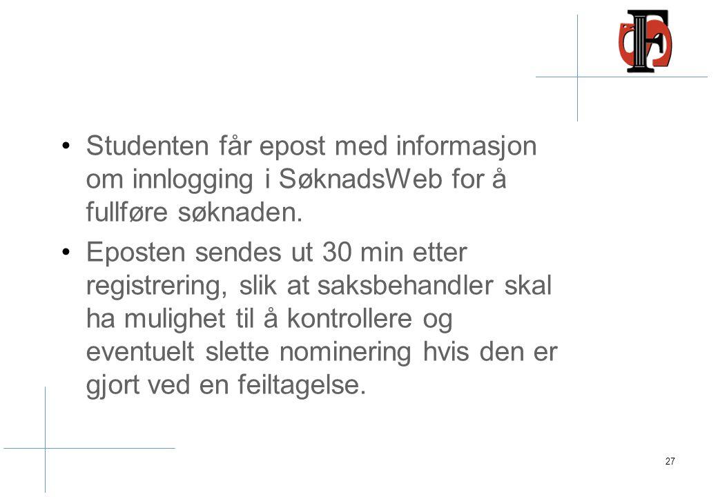 Nominering Studenten som blir nominert blir opprettet som person i FS med FS-fiktivt fnr. Øvre del av Søknad samebilde blir opprettet.