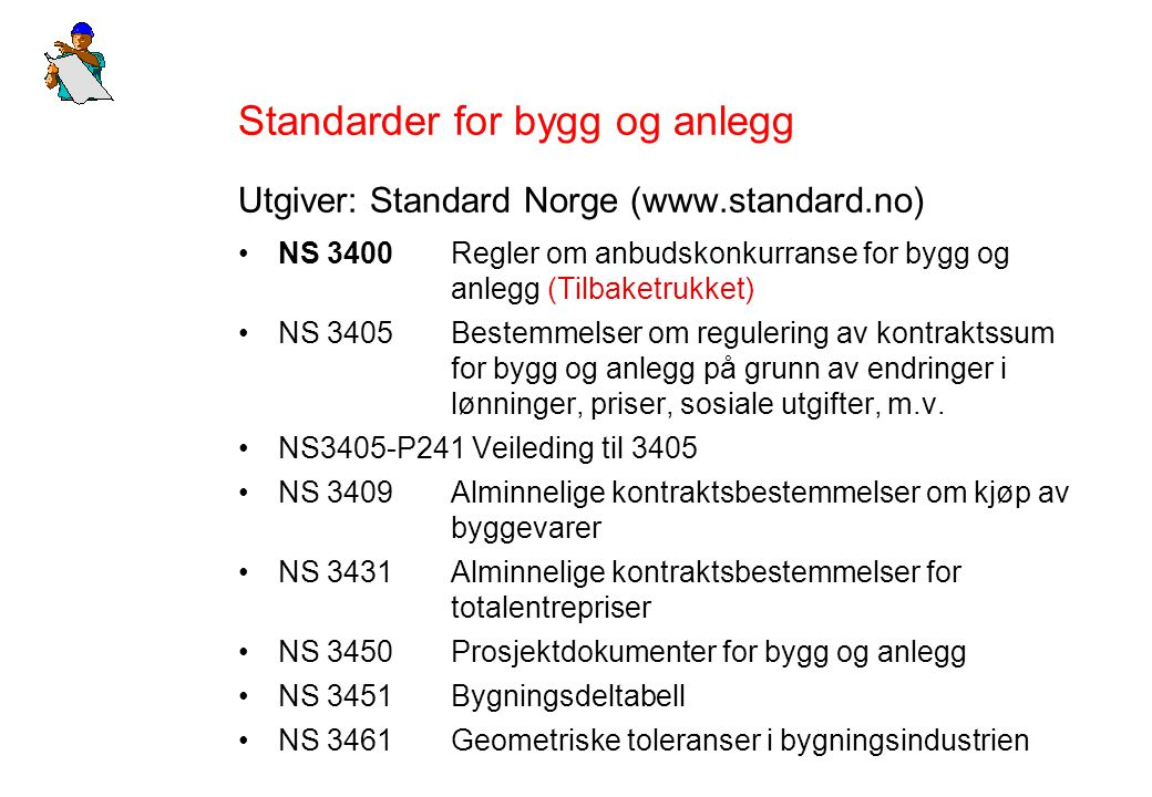 Standarder for bygg og anlegg