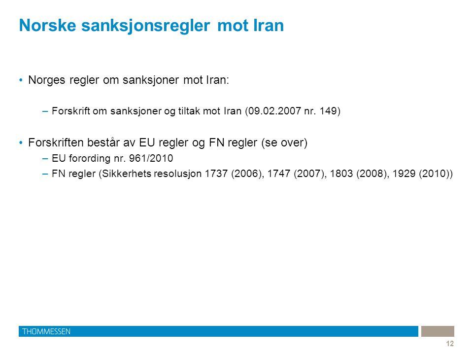 Norske sanksjonsregler mot Iran