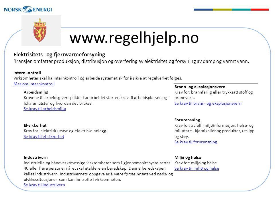 www.regelhjelp.no Elektrisitets- og fjernvarmeforsyning