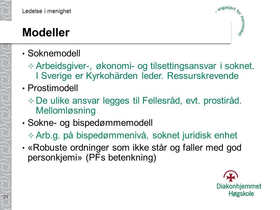 Ledelse i menighet Modeller. Soknemodell. Arbeidsgiver-, økonomi- og tilsettingsansvar i soknet. I Sverige er Kyrkohärden leder. Ressurskrevende.