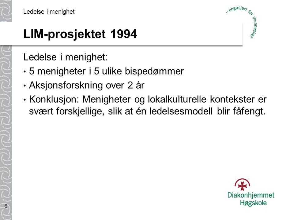LIM-prosjektet 1994 Ledelse i menighet: