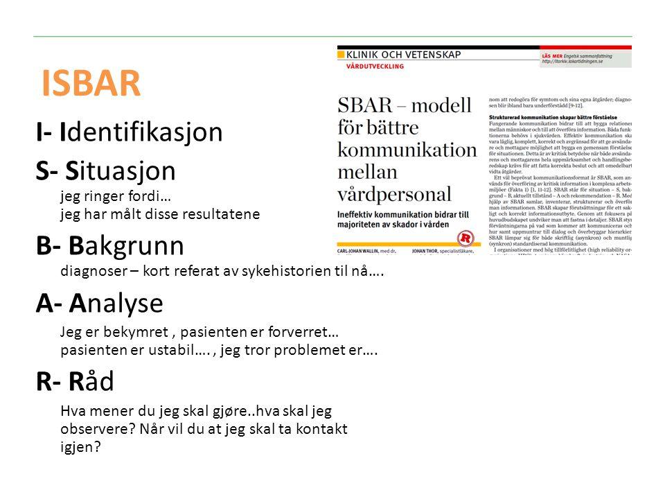 ISBAR I- Identifikasjon