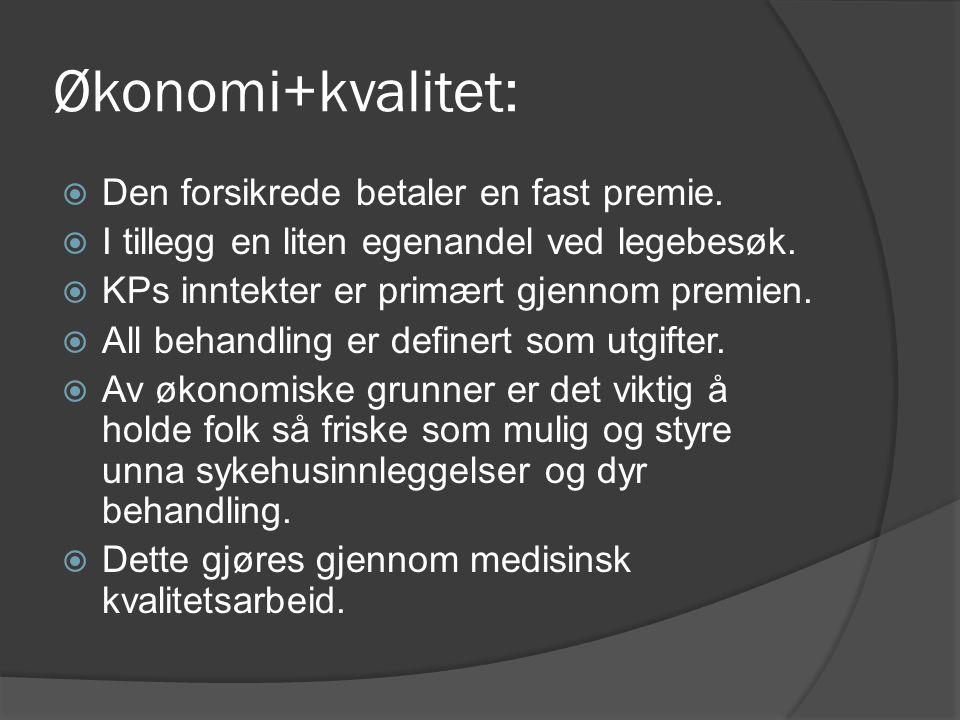 Økonomi+kvalitet: Den forsikrede betaler en fast premie.