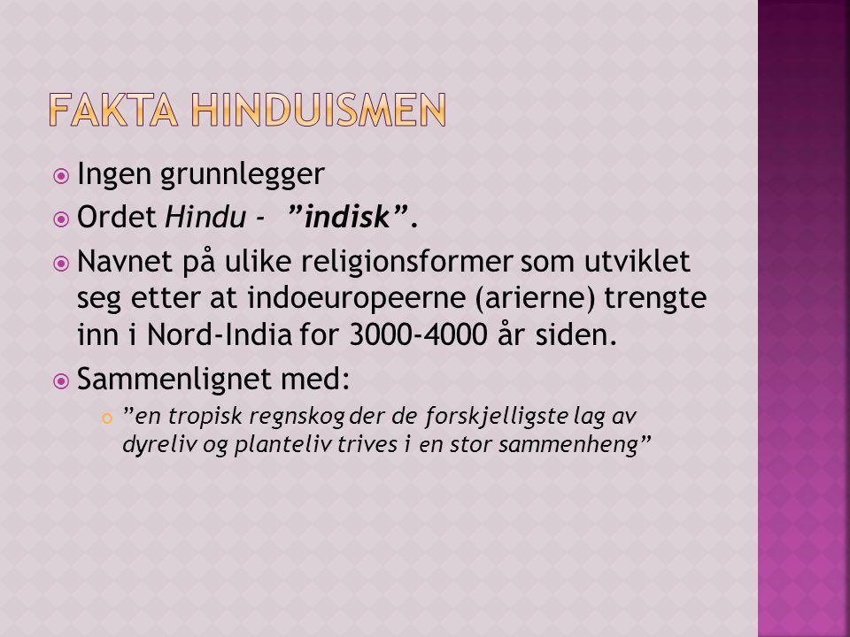 Fakta Hinduismen Ingen grunnlegger Ordet Hindu - indisk .