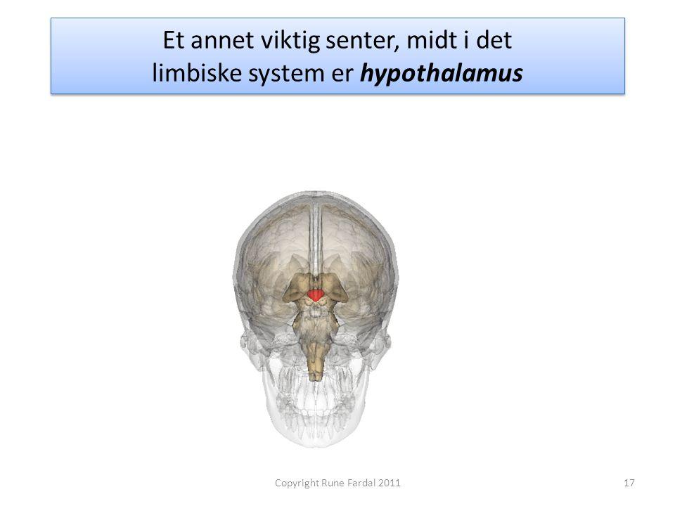 Et annet viktig senter, midt i det limbiske system er hypothalamus